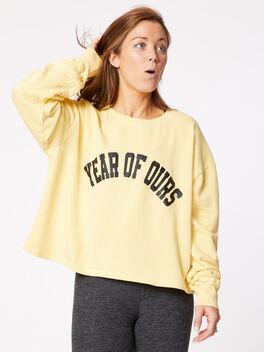 Collegiate Crew Neck Sweatshirt Yellow, Yellow, large