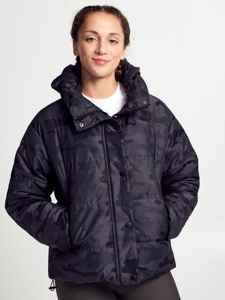 Puffer Jacket, Black Camo, large image number 0