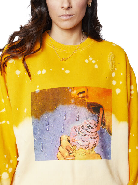 Acid Wash Sunrise Licked It Pullover, Yellow, large image number 1