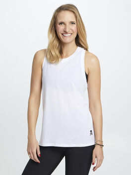 Basic Racerback Tank W/ Splatter, White, large