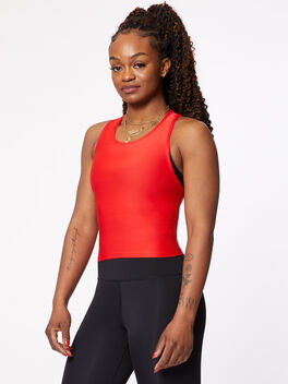 Cropped Performance Racer Tank Red, Red, large