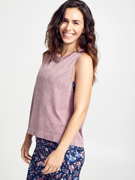 Mineral Wash Boxy Tank Top, Dusty Mauve, large image number 3