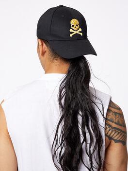 Yellow Skull Baseball Hat Black, Black, large