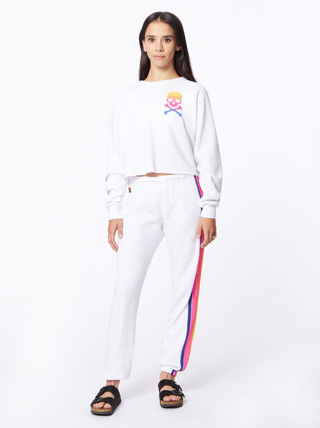 Exclusive Classic Cropped Crew Sweatshirt White/Rainbow, White, large image number 0