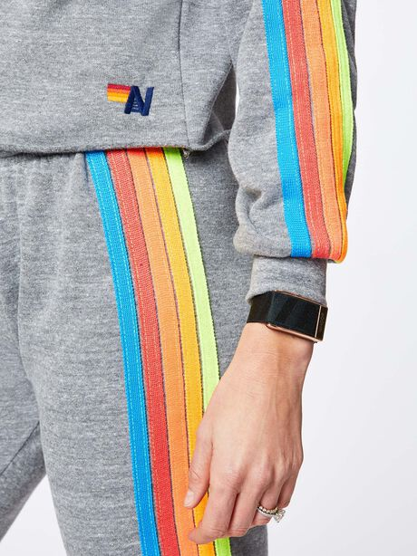 Classic 5 Stripe Crew Sweatshirt Heather Grey, Heather Grey, large image number 2