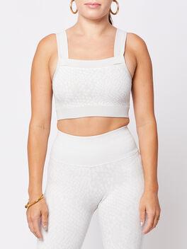 White Animal Bra, White, large