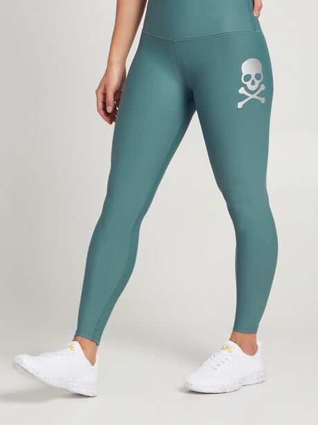 Fold-Over Waistband Leggings, Green, large image number 0