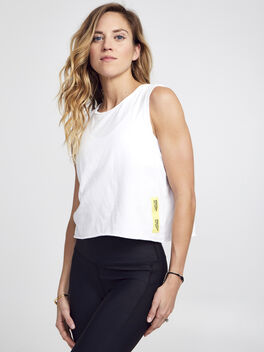 Renee Cropped White Tank Top, White, large