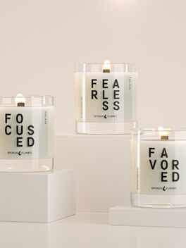 F, Yes Trio Candle Set, Clear, large