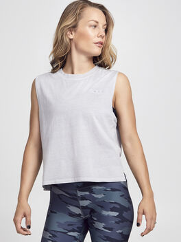Silver Mineral Wash Crop Boxy Tank, Silver, large