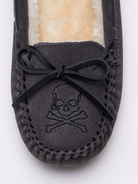 Skull Trapper Slippers, Charcoal, large image number 2