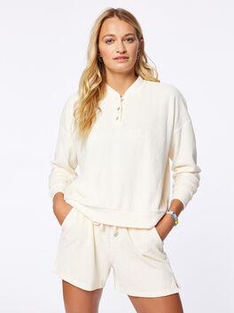 Terry Henley Sweatshirt Cream, Off White, large